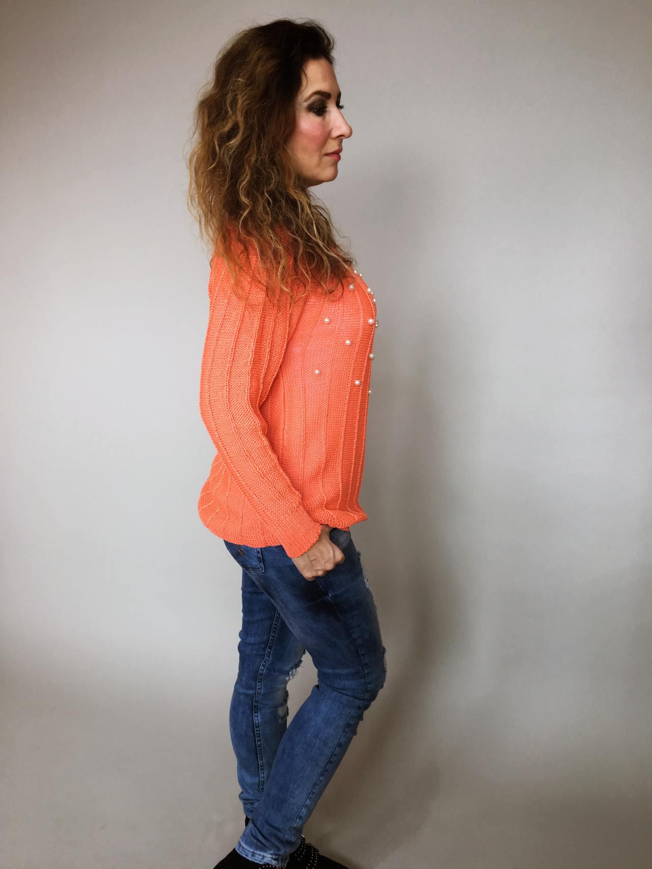 Halenka Pearls oranžová 03