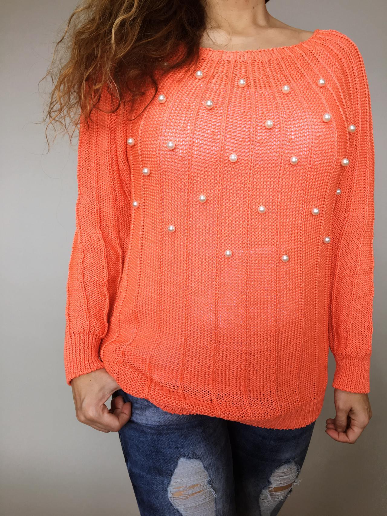 Halenka Pearls oranžová 04