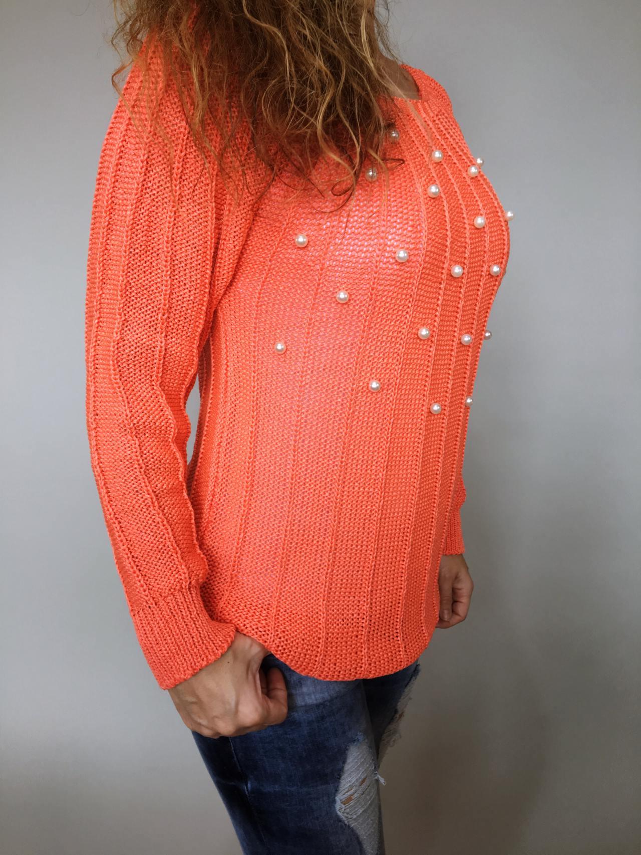 Halenka Pearls oranžová 05