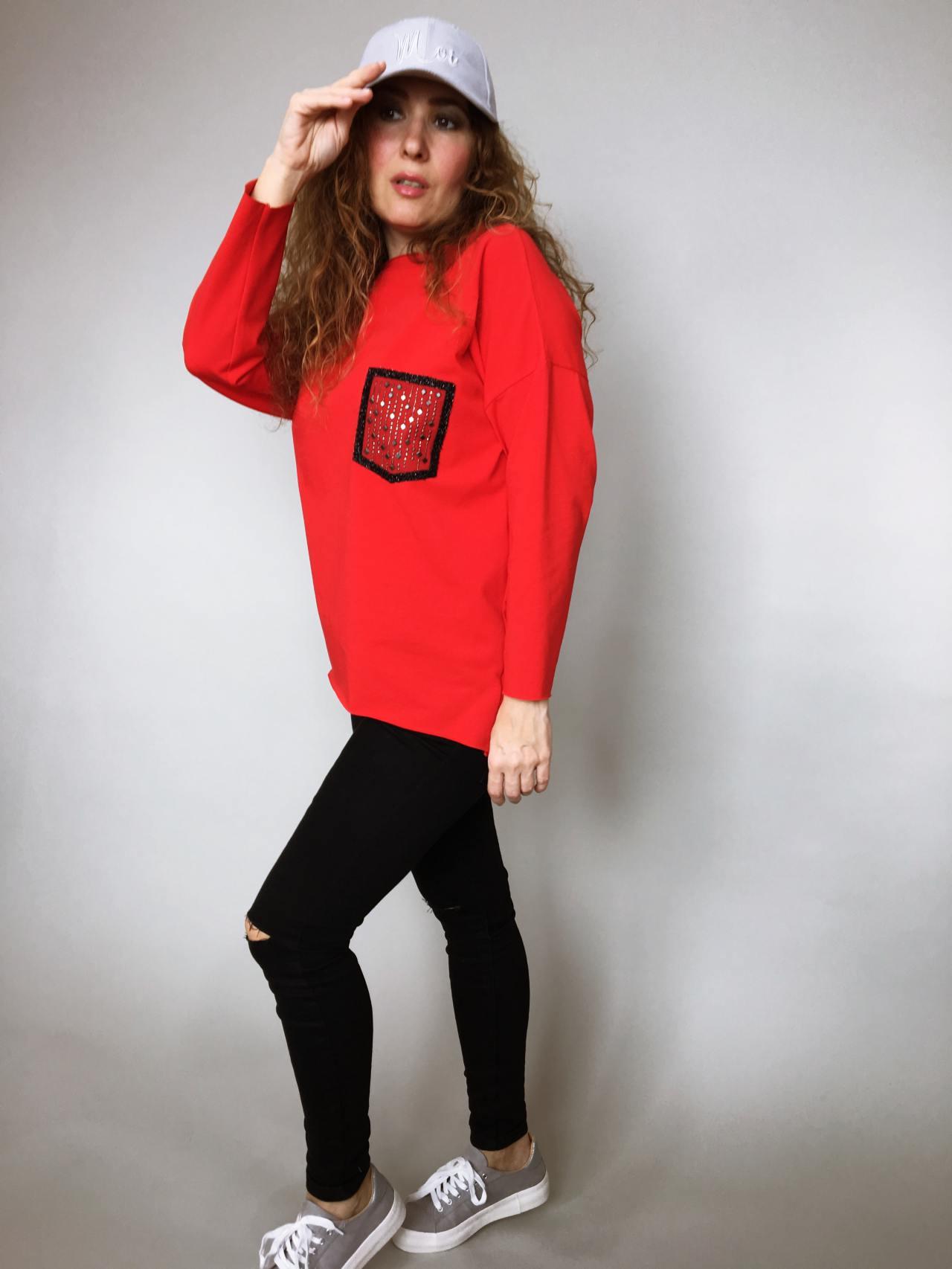 44f76e4c519 Halenka Pocket červená – Simm-Fashion.cz