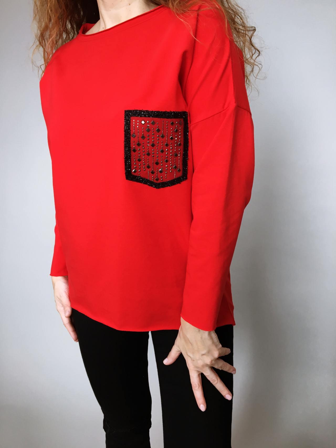 Halenka Pocket červená 06