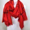 Károvaný šátek červený 01