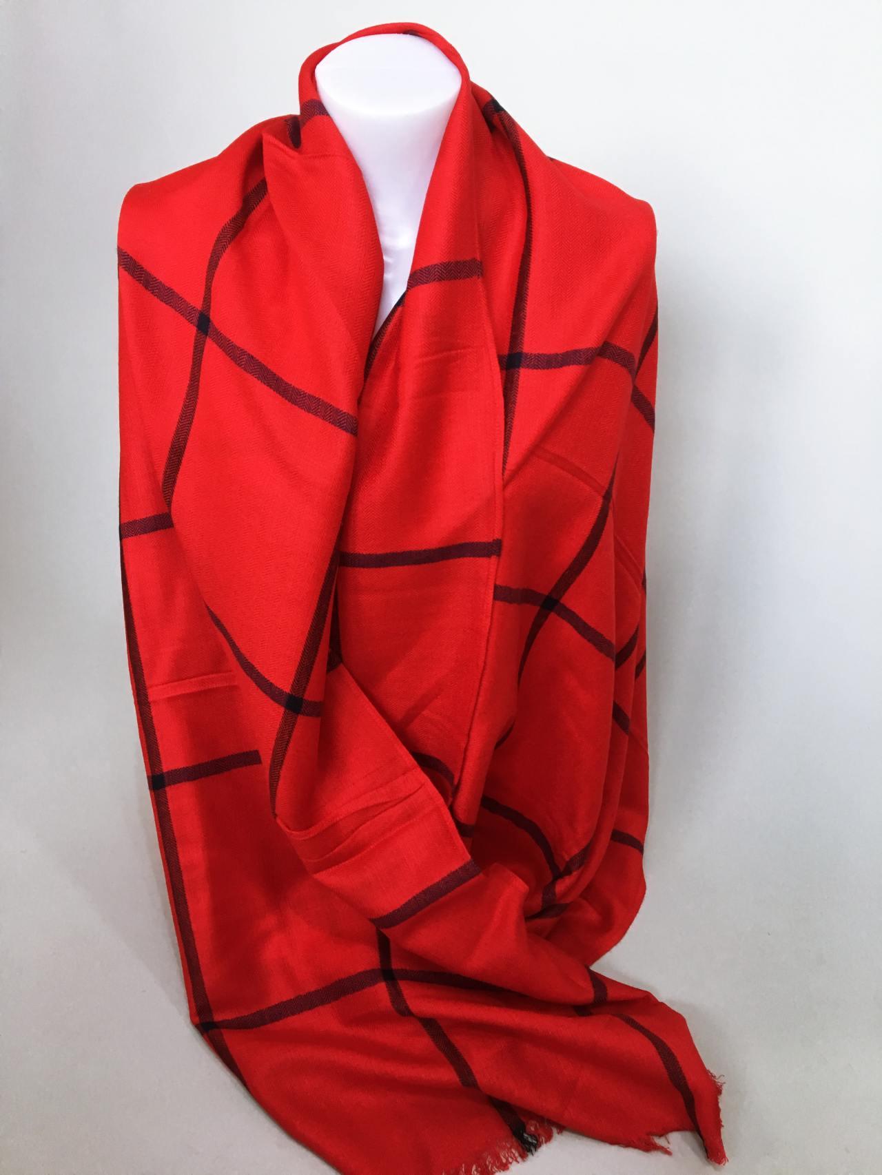 Károvaný šátek červený 03