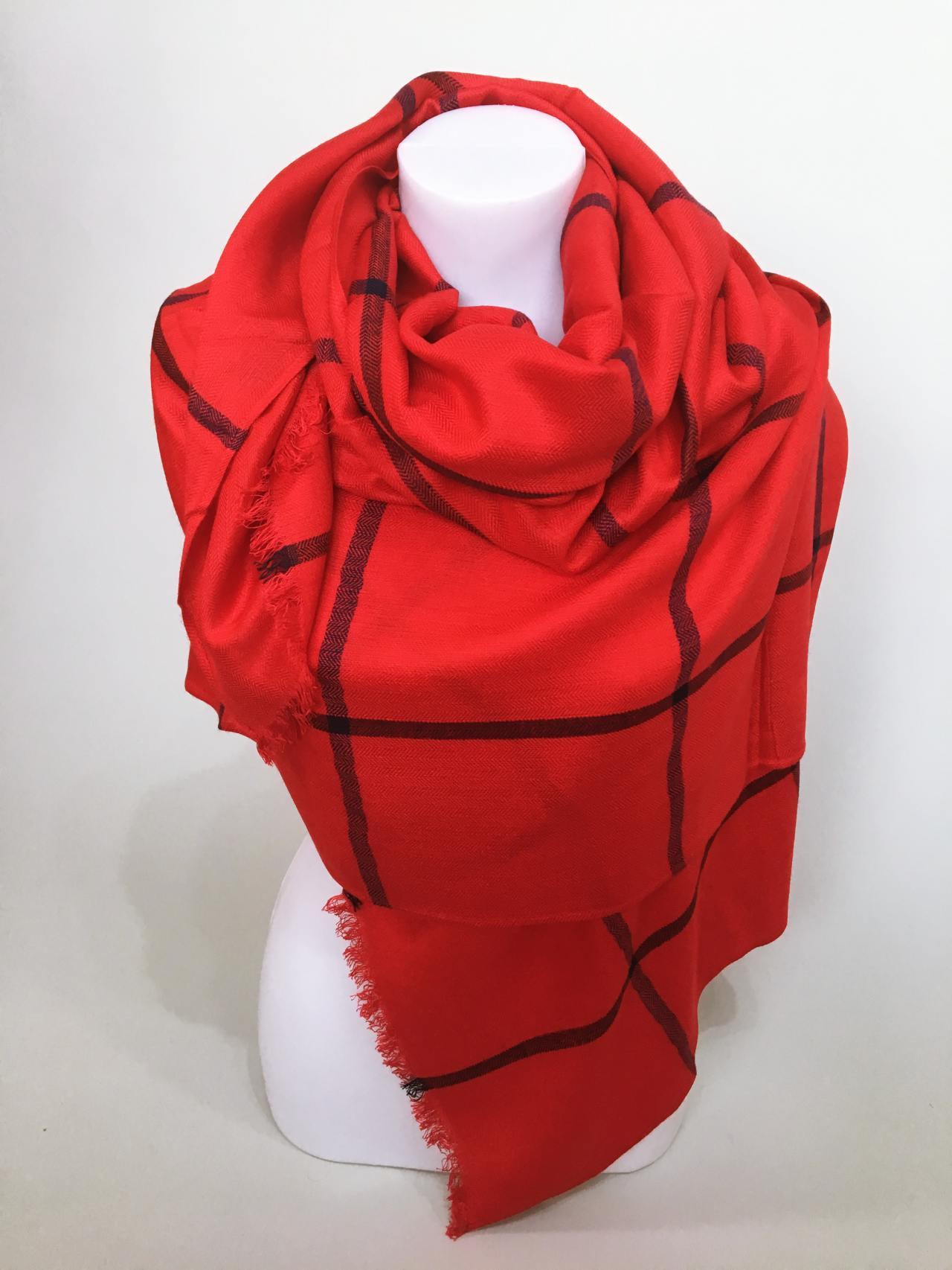 Károvaný šátek červený 04
