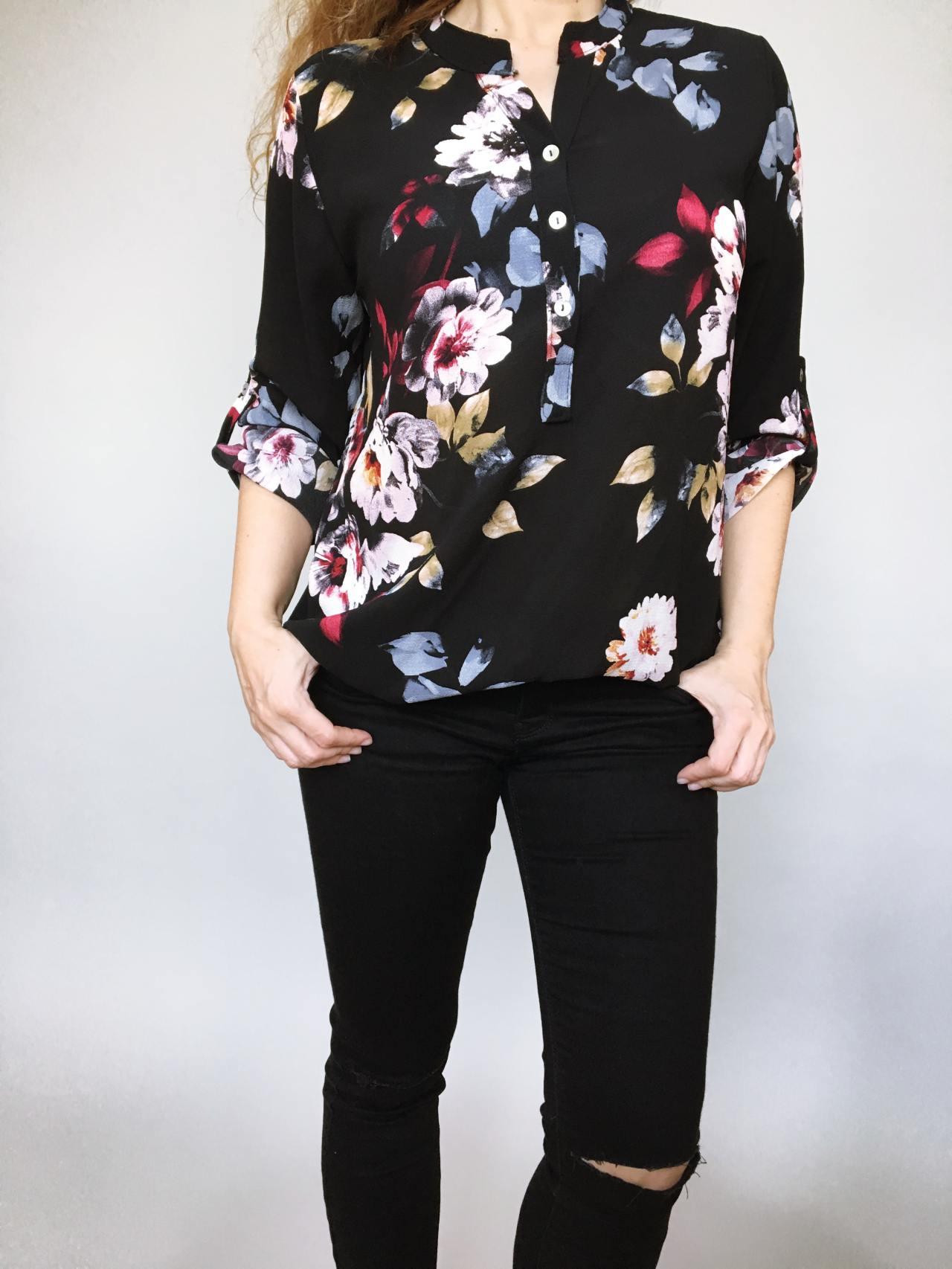 Košile s květy černá 02