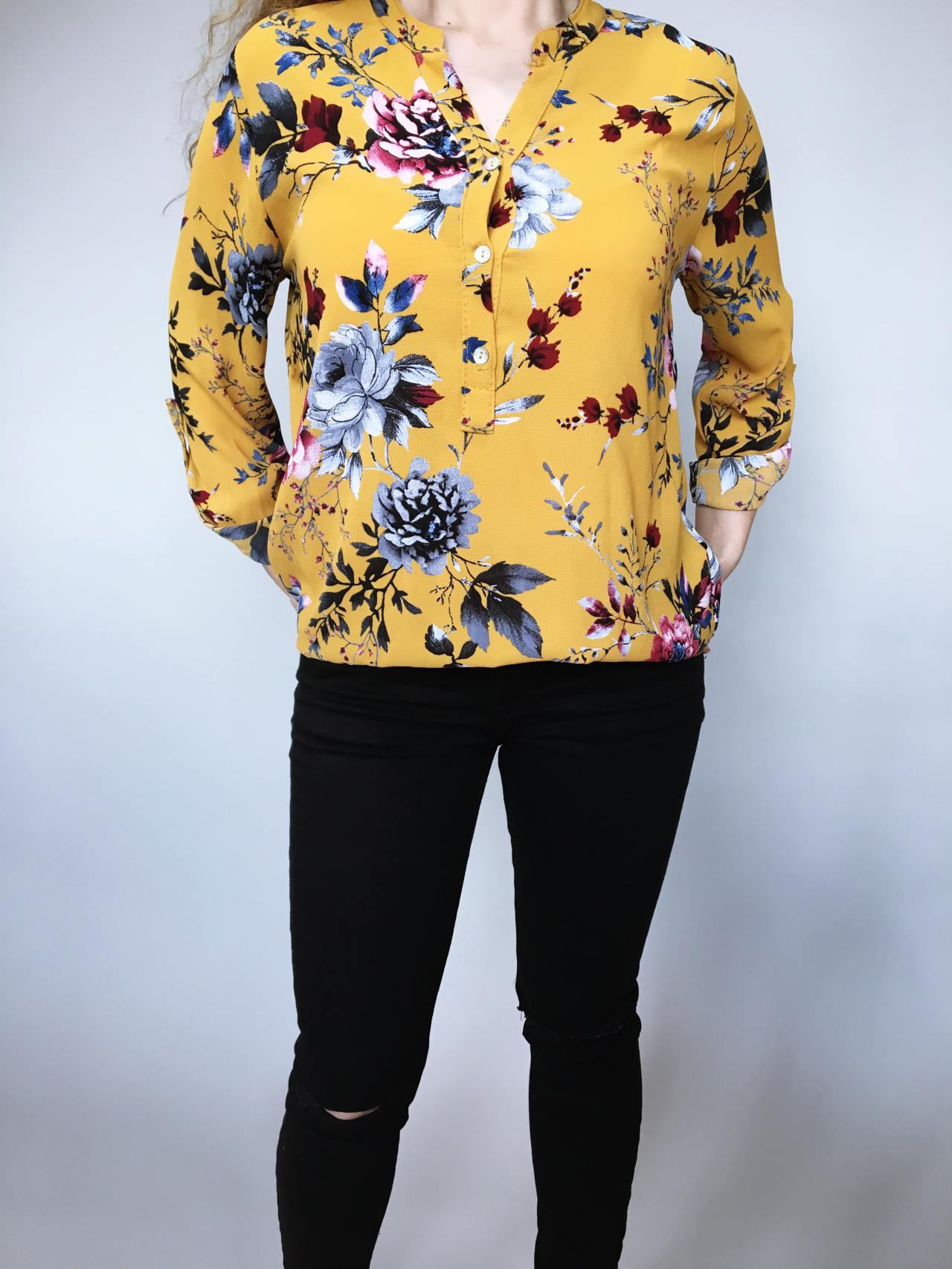 Košile s květy žlutá 02