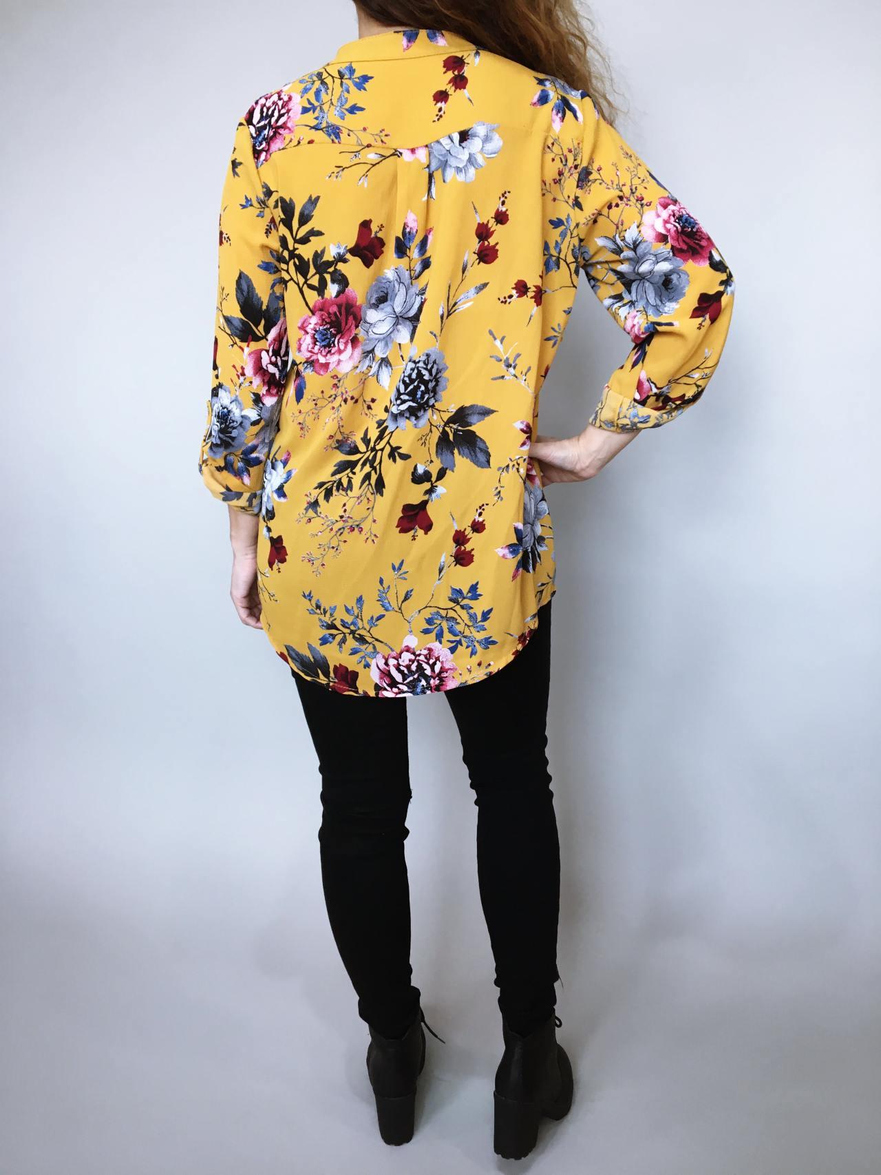 Košile s květy žlutá 04