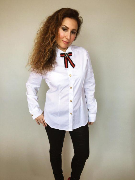 Košile s mašlí bílá 01