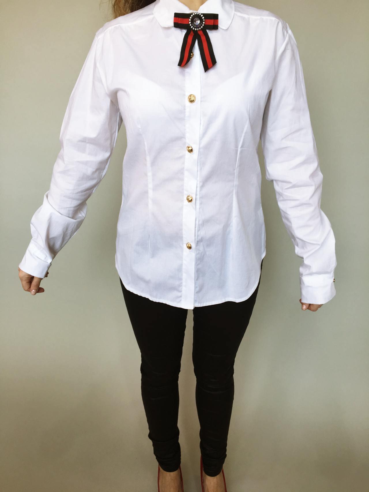 Košile s mašlí bílá 02