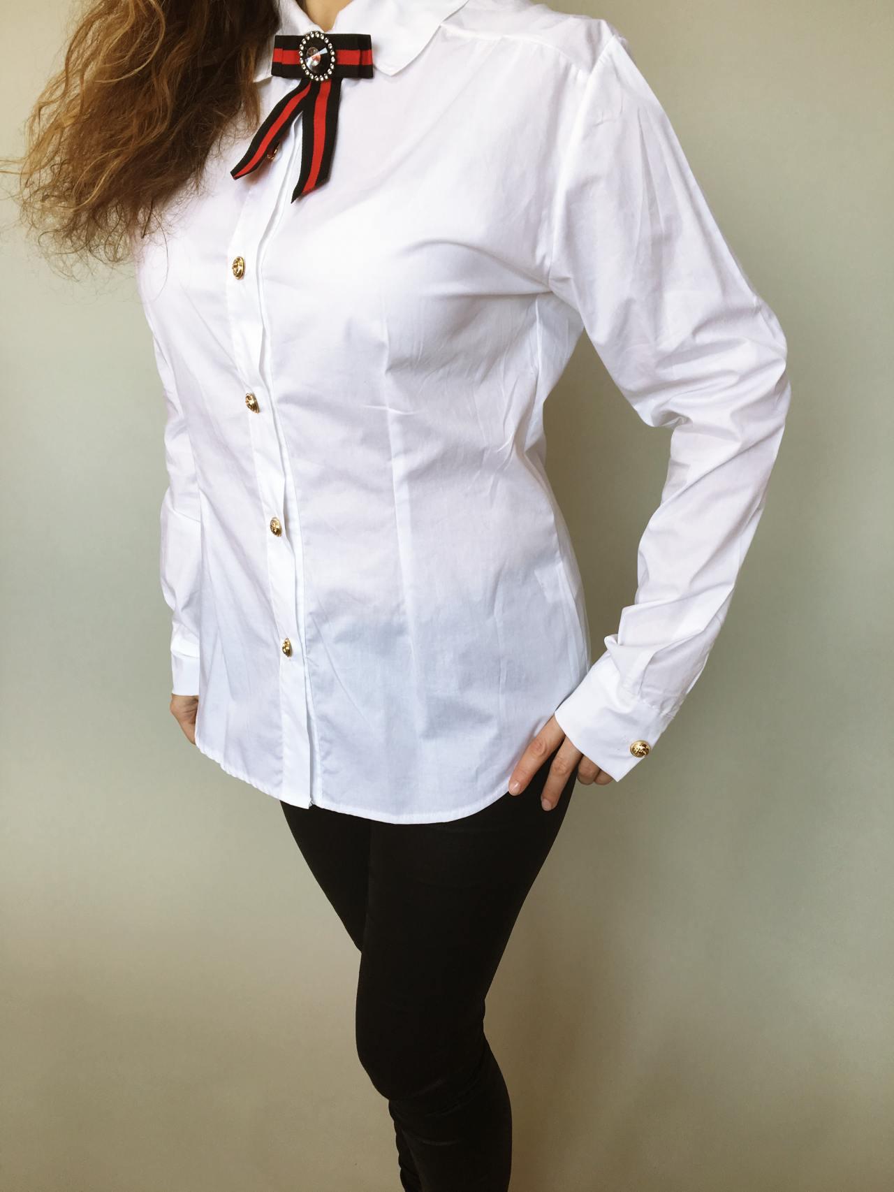 Košile s mašlí bílá 04