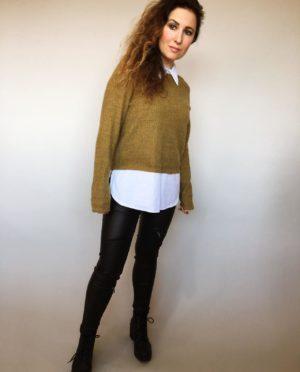 Košilový svetr hořčicový 01