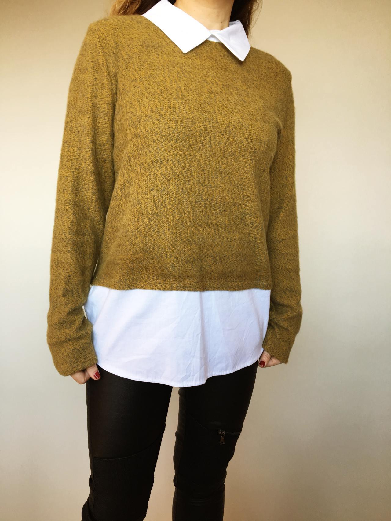 Košilový svetr hořčicový 03