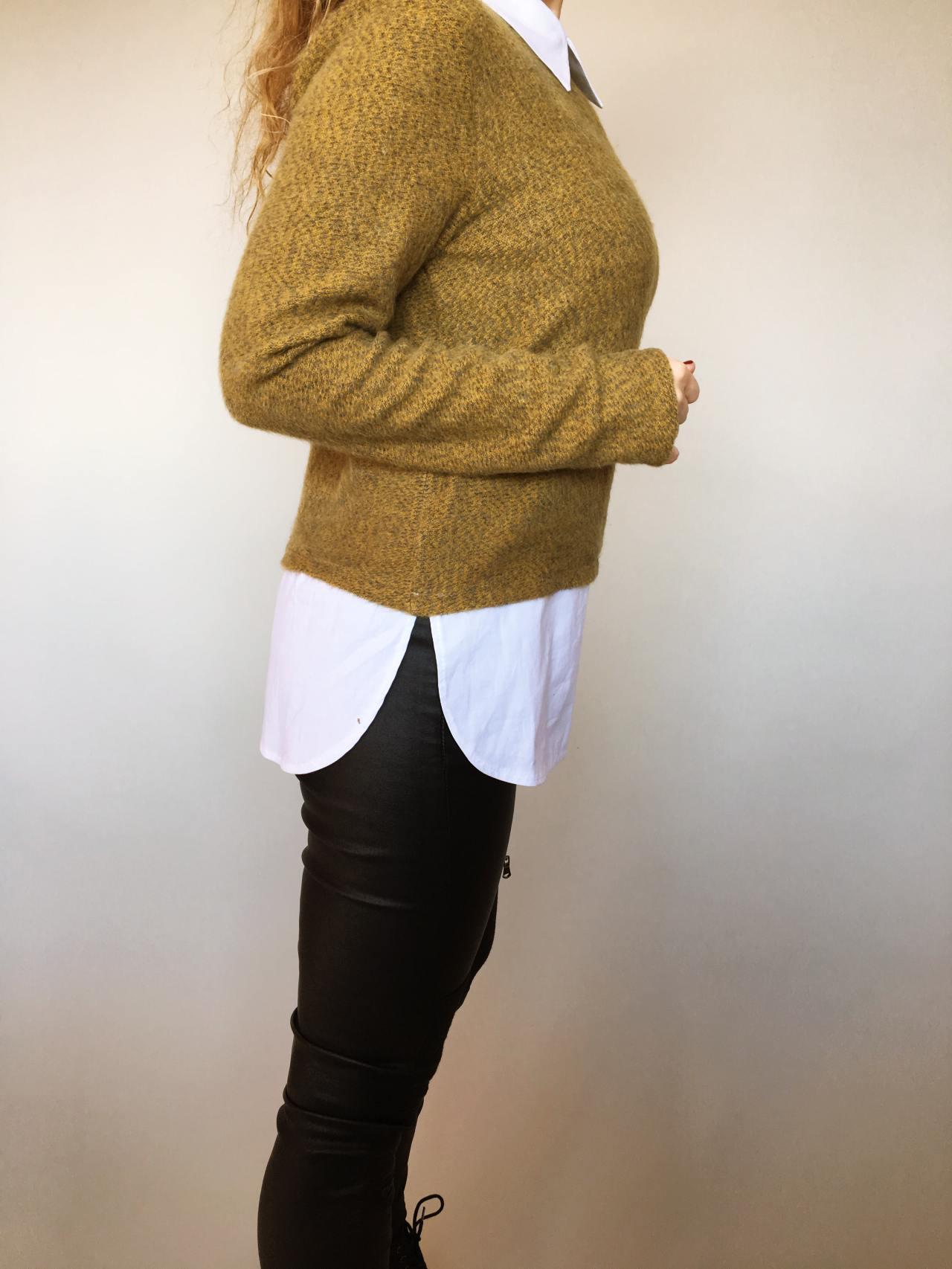 Košilový svetr hořčicový 04