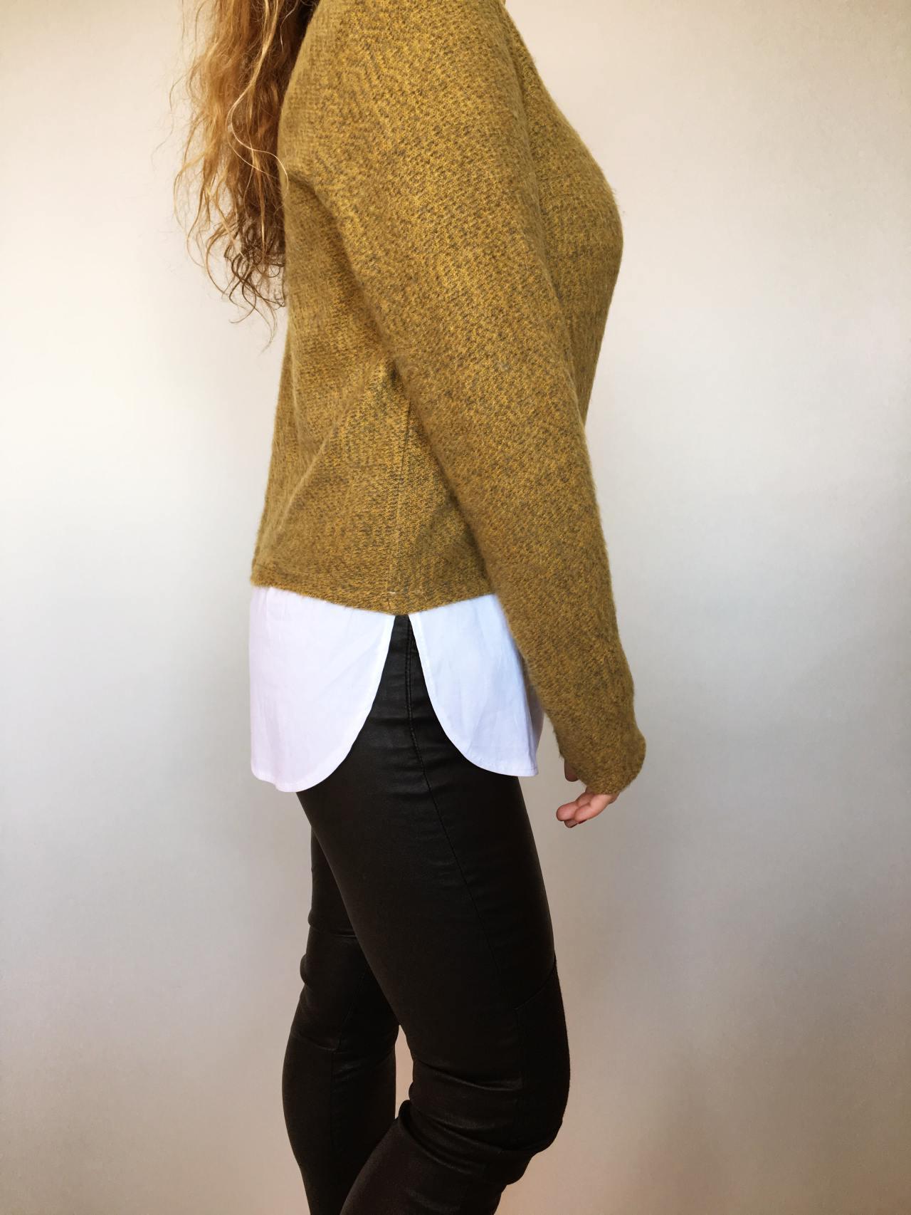 Košilový svetr hořčicový 06