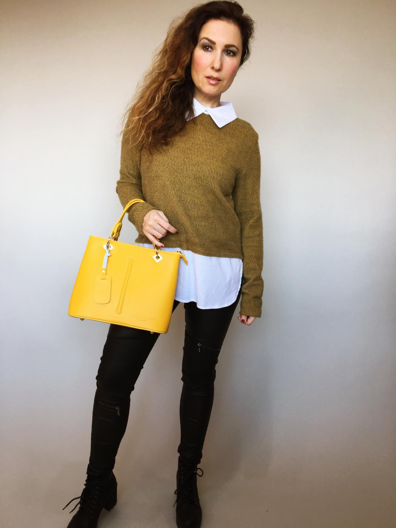Košilový svetr hořčicový 07