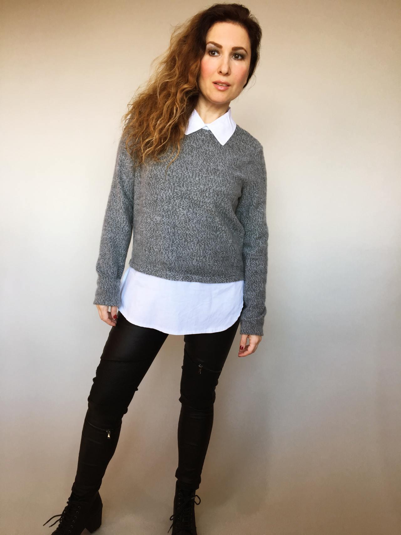 Košilový svetr šedý 01