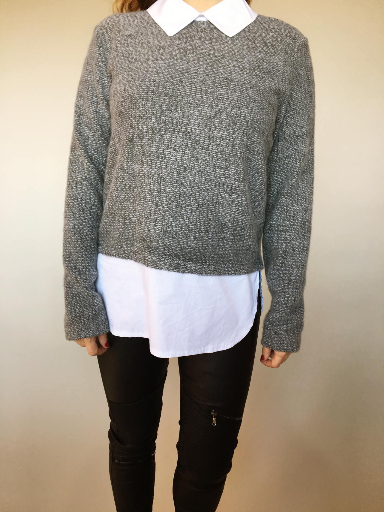 Košilový svetr šedý 02