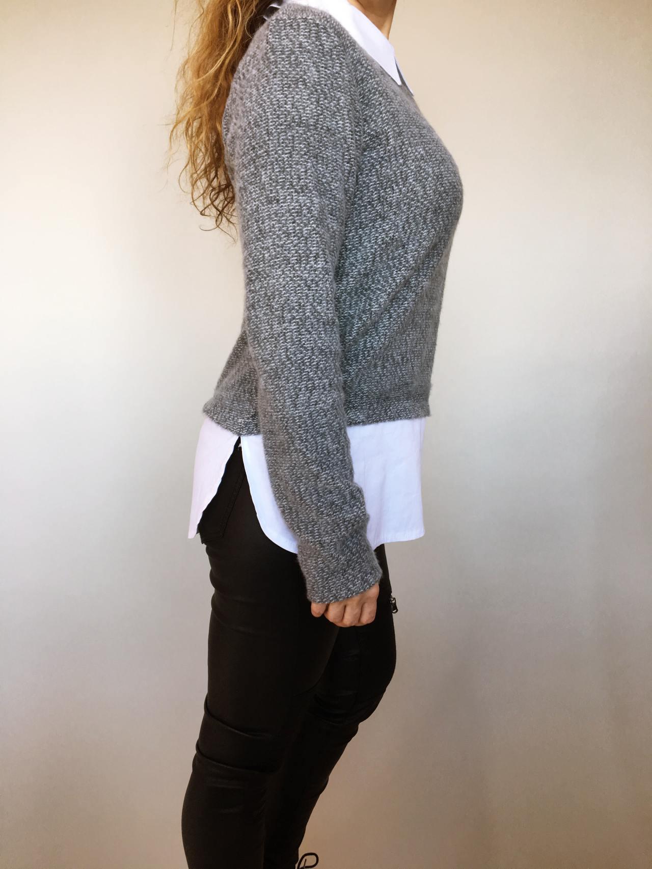 Košilový svetr šedý 03