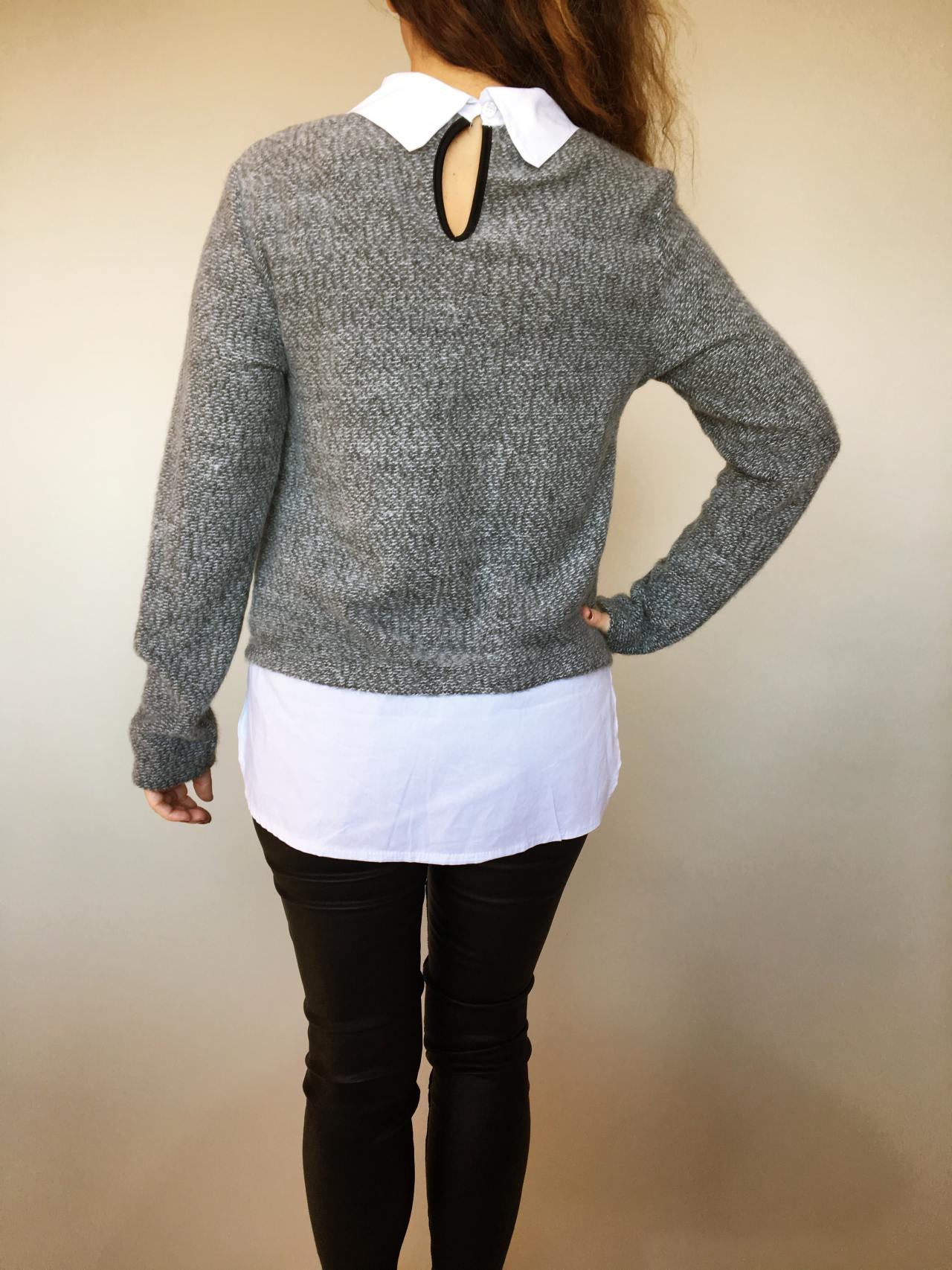 Košilový svetr šedý 04