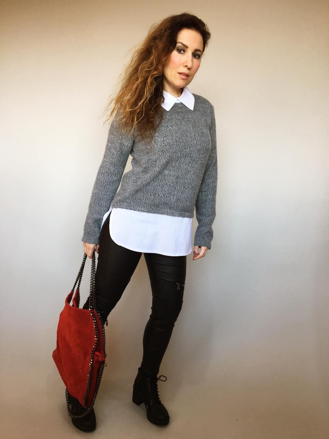 Košilový svetr šedý 05