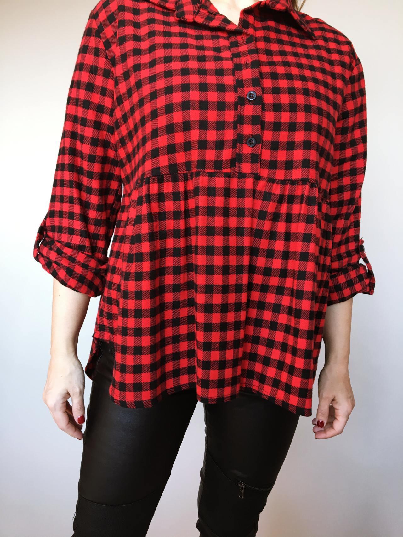 Kostkovaná košile černo – červená 02