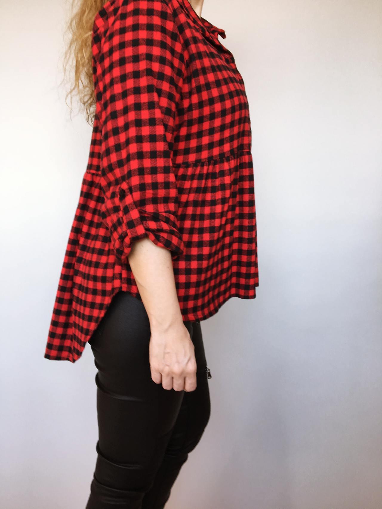 Kostkovaná košile černo – červená 03