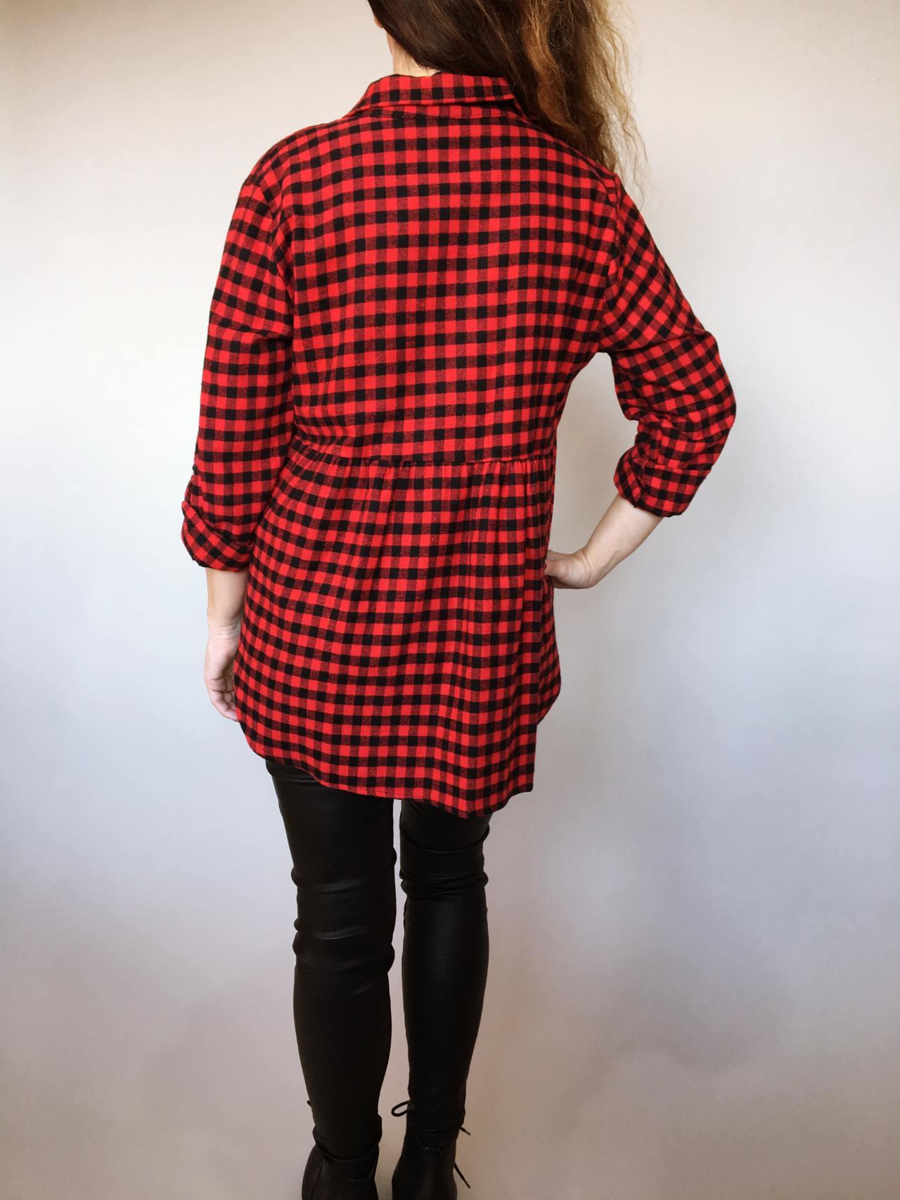 Kostkovaná košile černo – červená 04