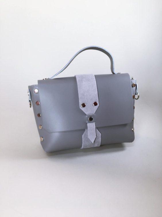 Kožená kabelka Milano šedá 01