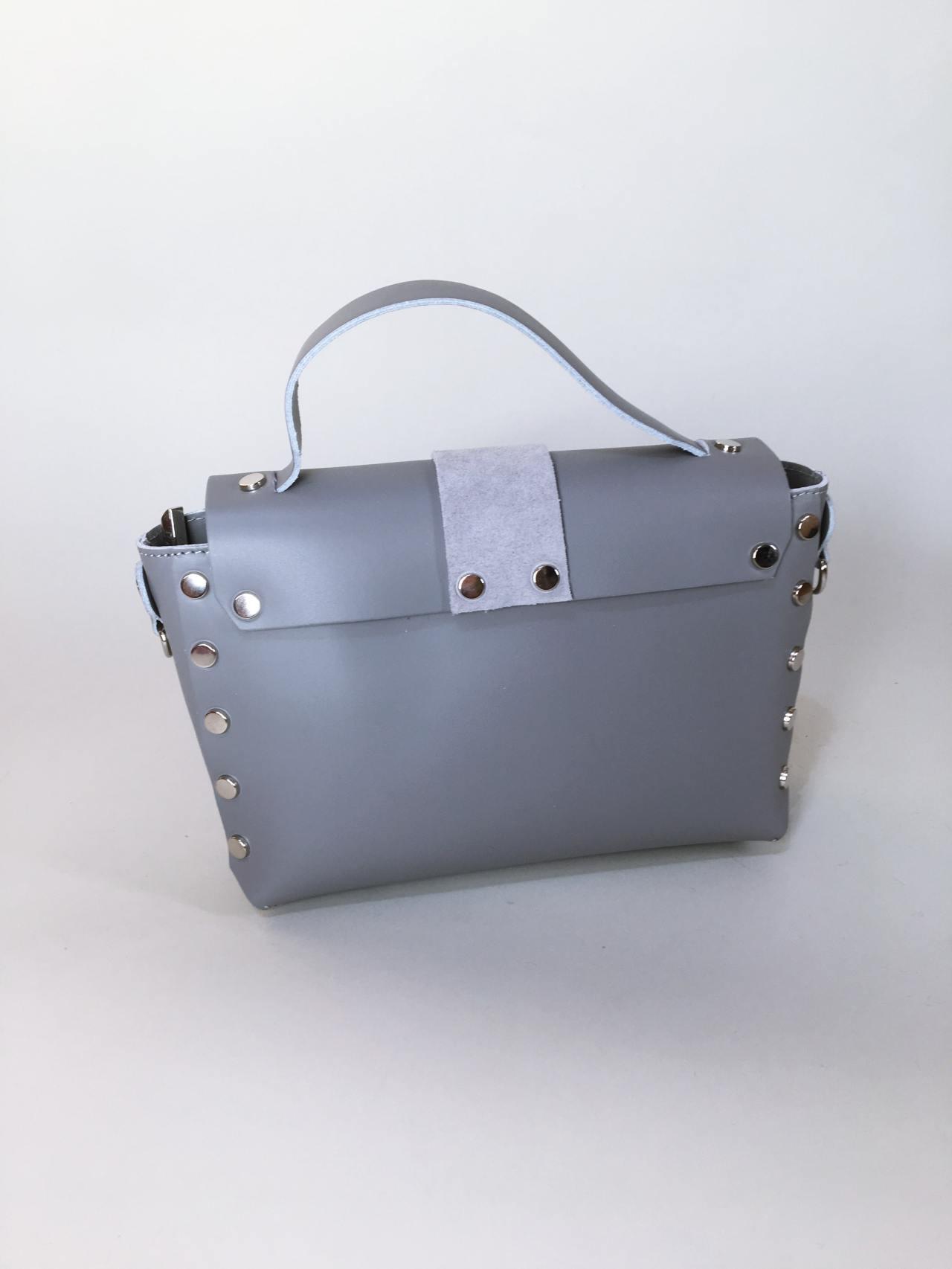 Kožená kabelka Milano šedá 02