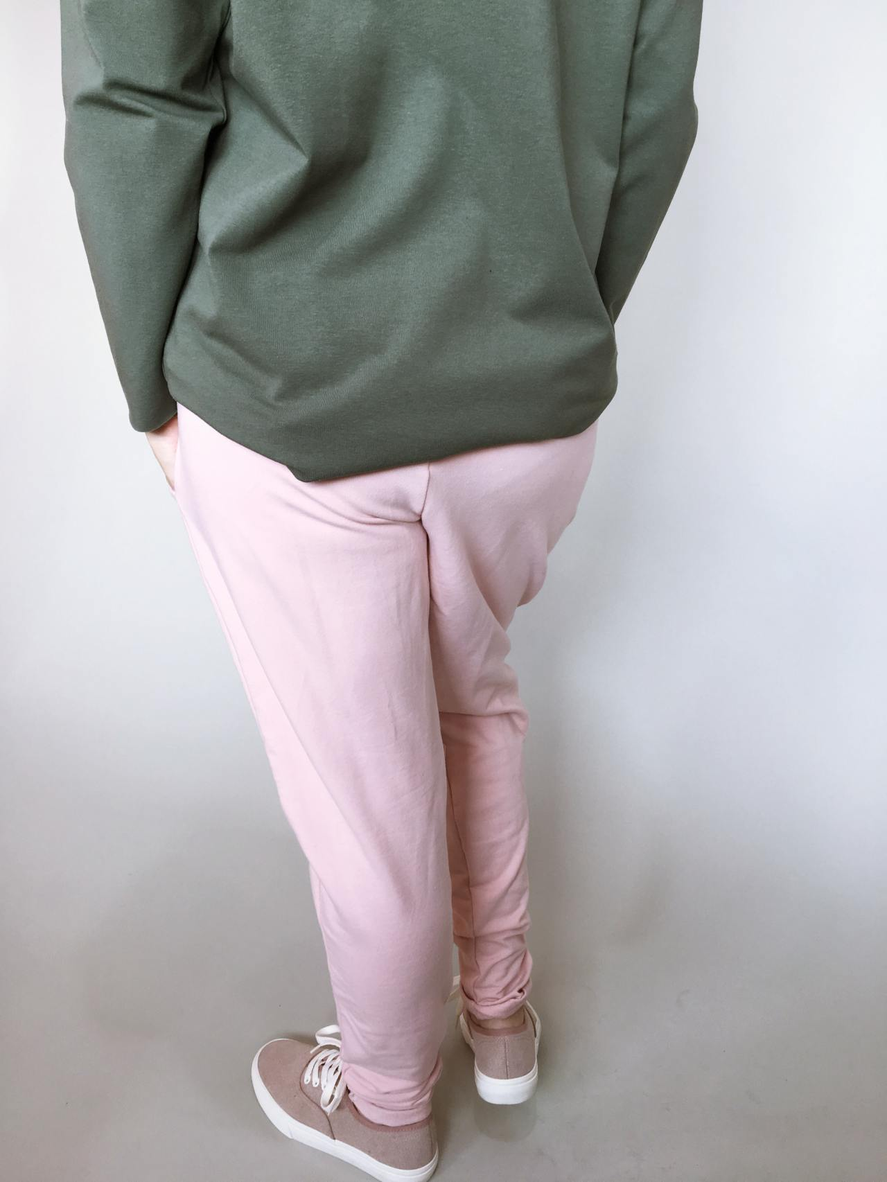 Módní kalhoty pudrové 04