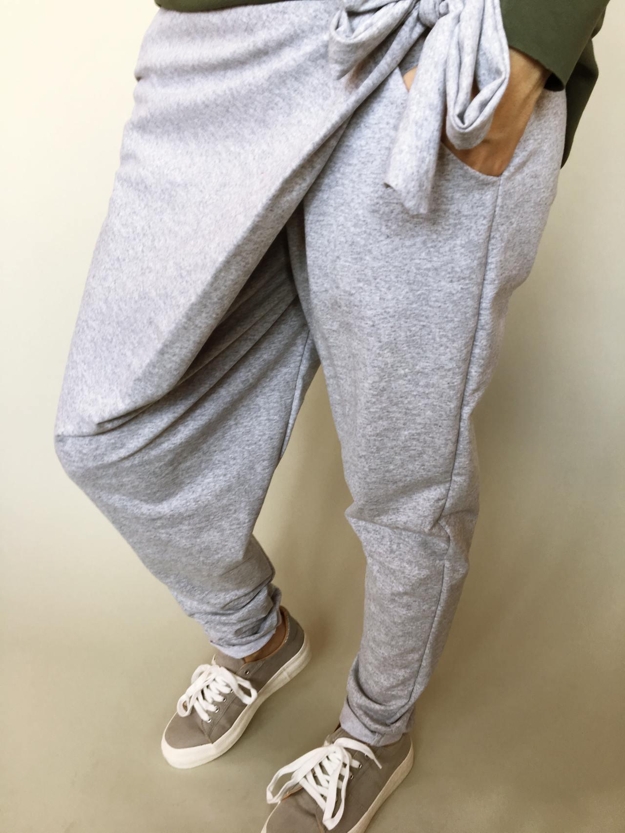 Módní kalhoty šedé 04