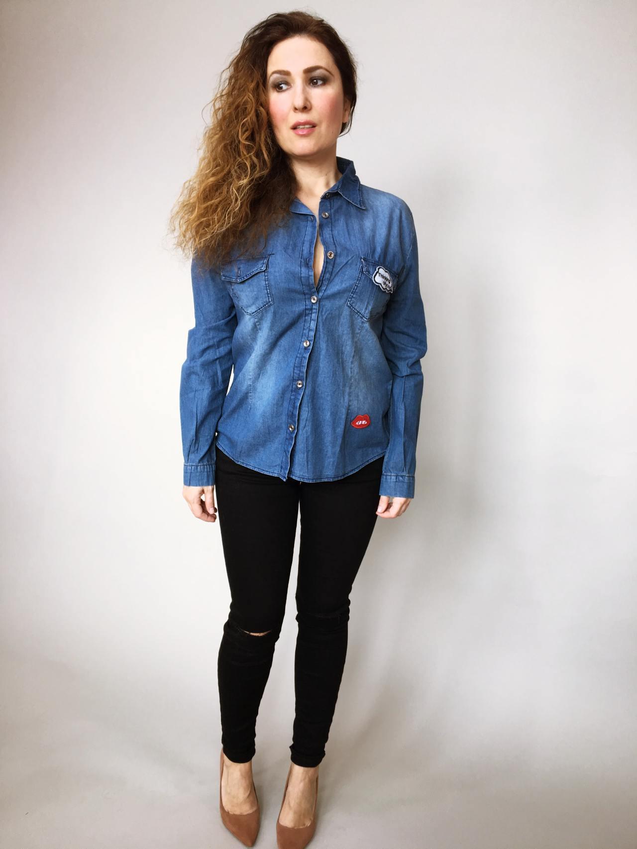 Riflová košile modrá 01