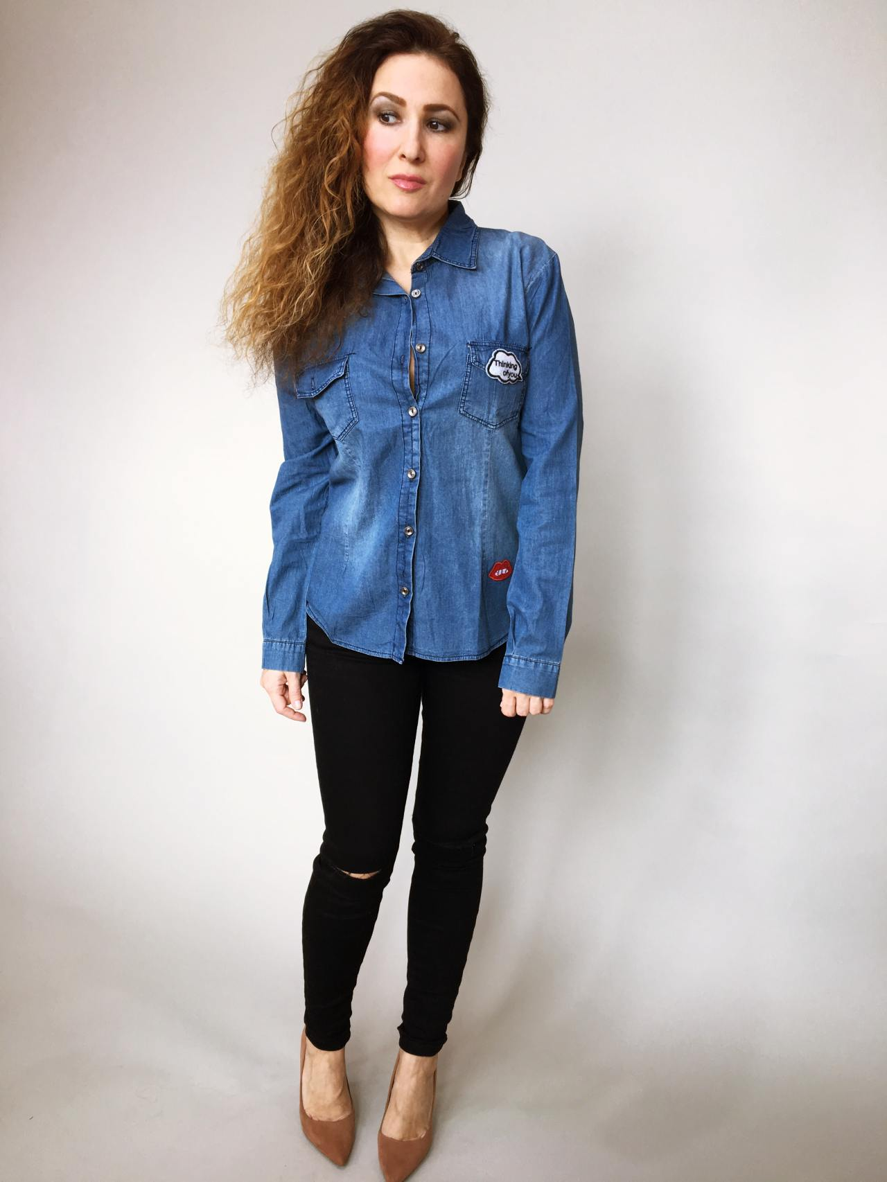 Riflová košile modrá 02