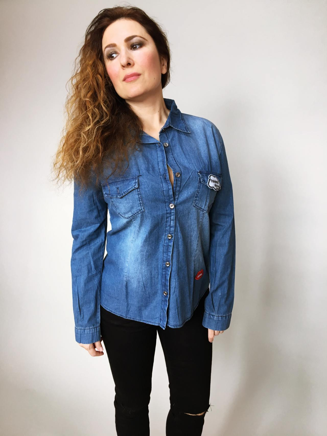 Riflová košile modrá 03