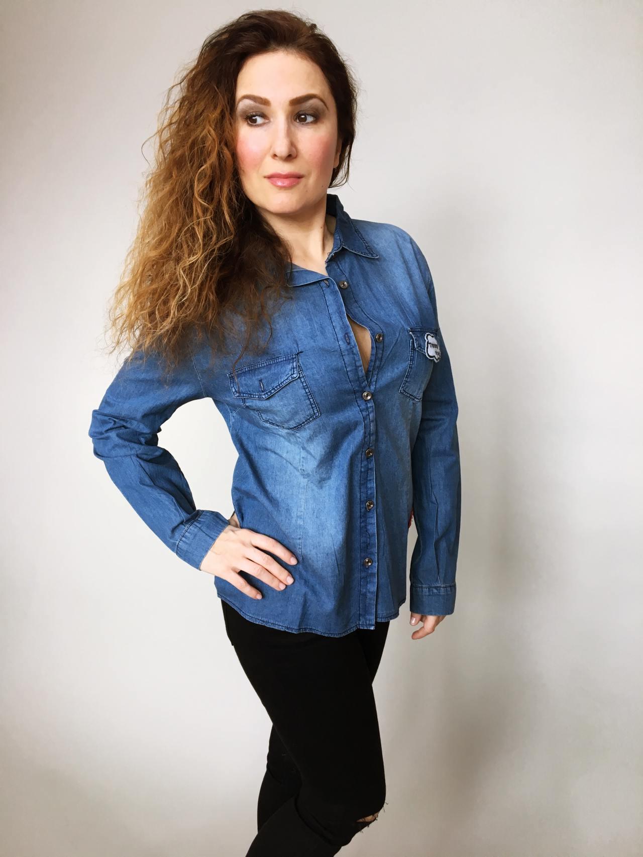 Riflová košile modrá 04