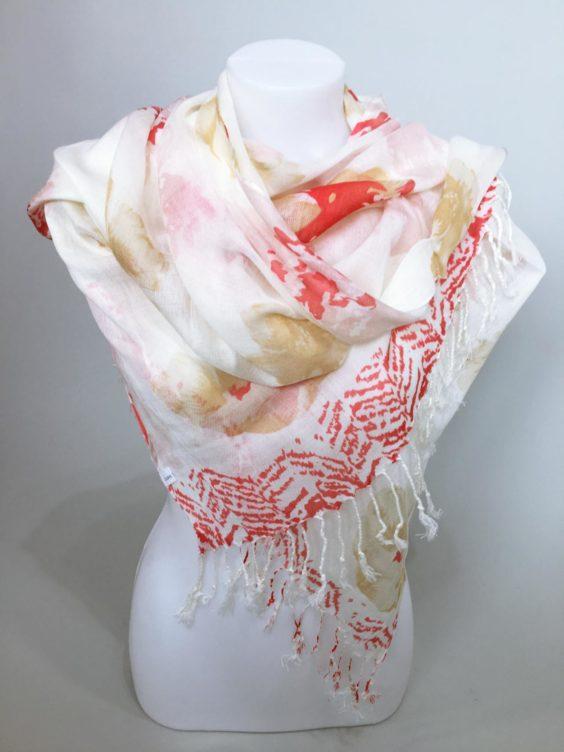 Šátek Flowers krémovo červený 01