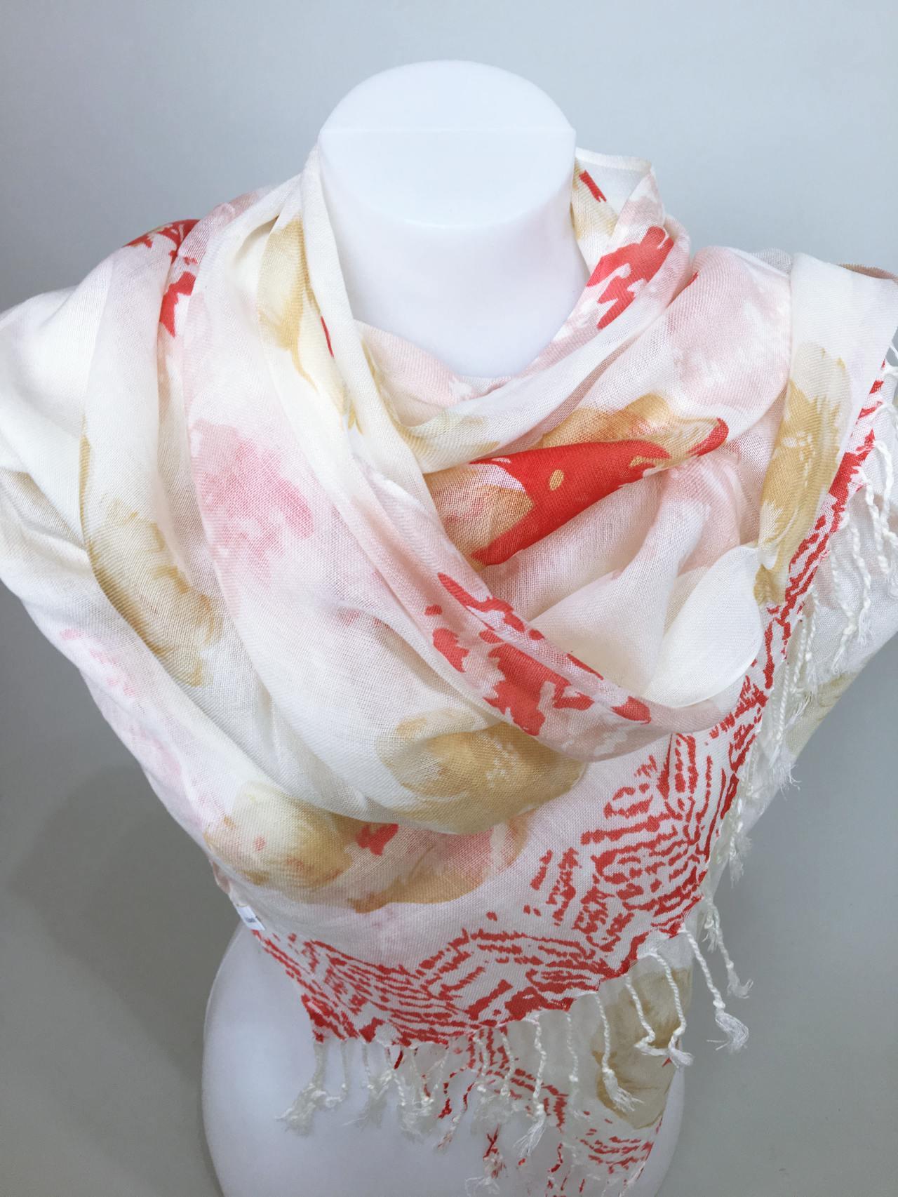 Šátek Flowers krémovo červený 02