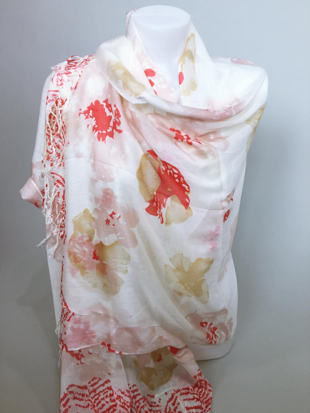 Šátek Flowers krémovo červený 03