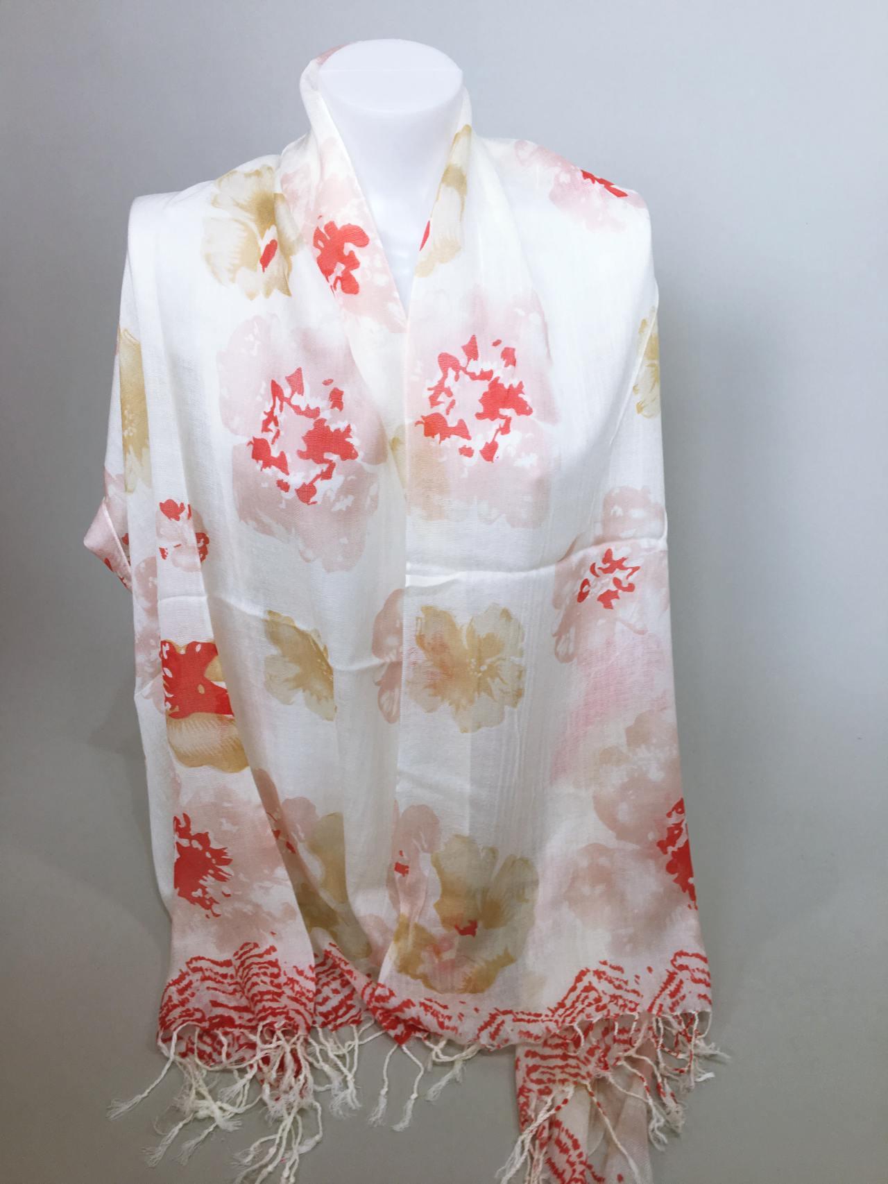 Šátek Flowers krémovo červený 04