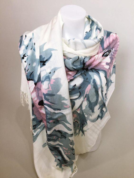 Šátek Flowers krémovo modrý 01