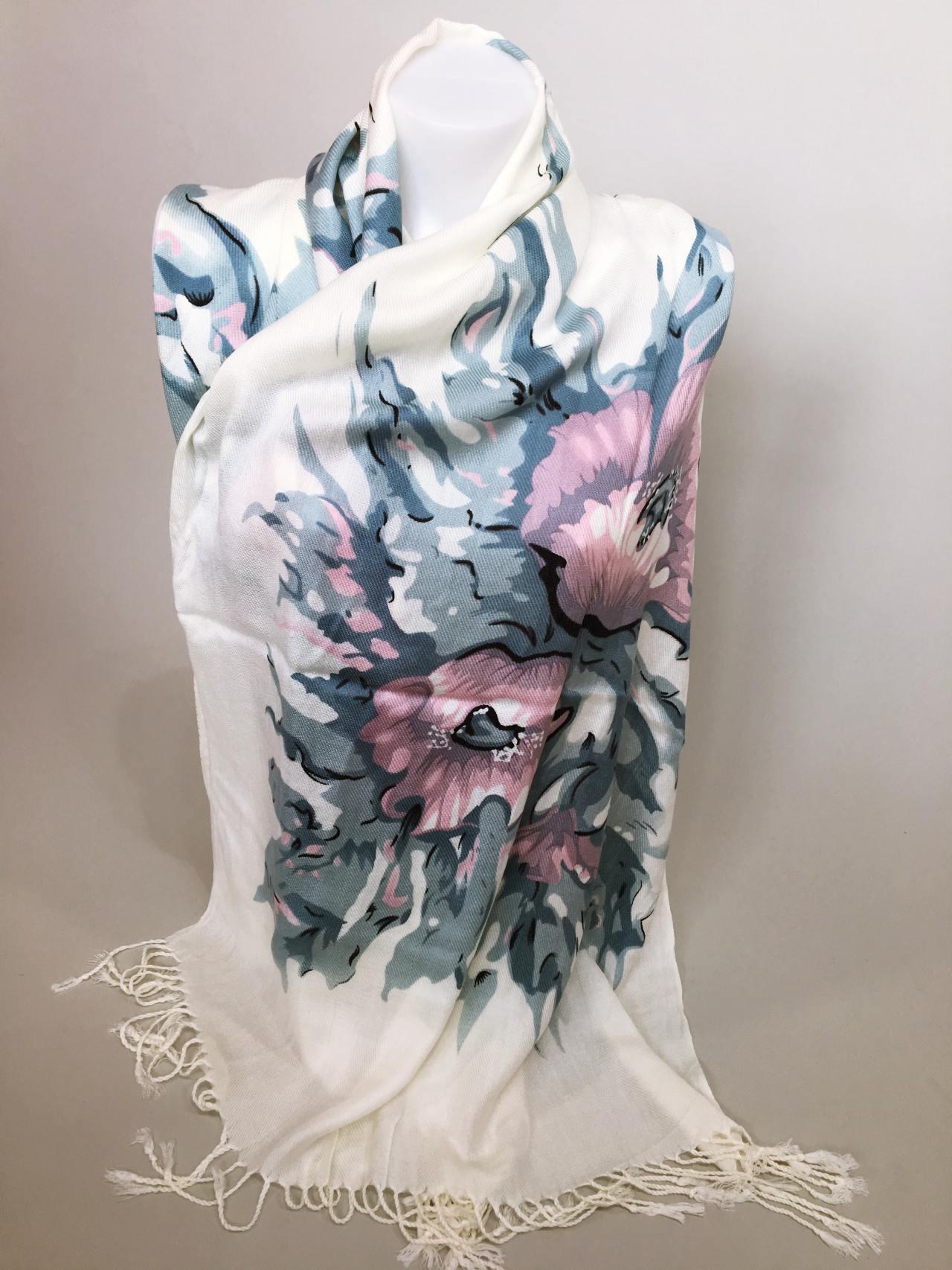Šátek Flowers krémovo modrý 03