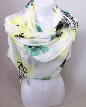 Šátek Flowers zelený 01