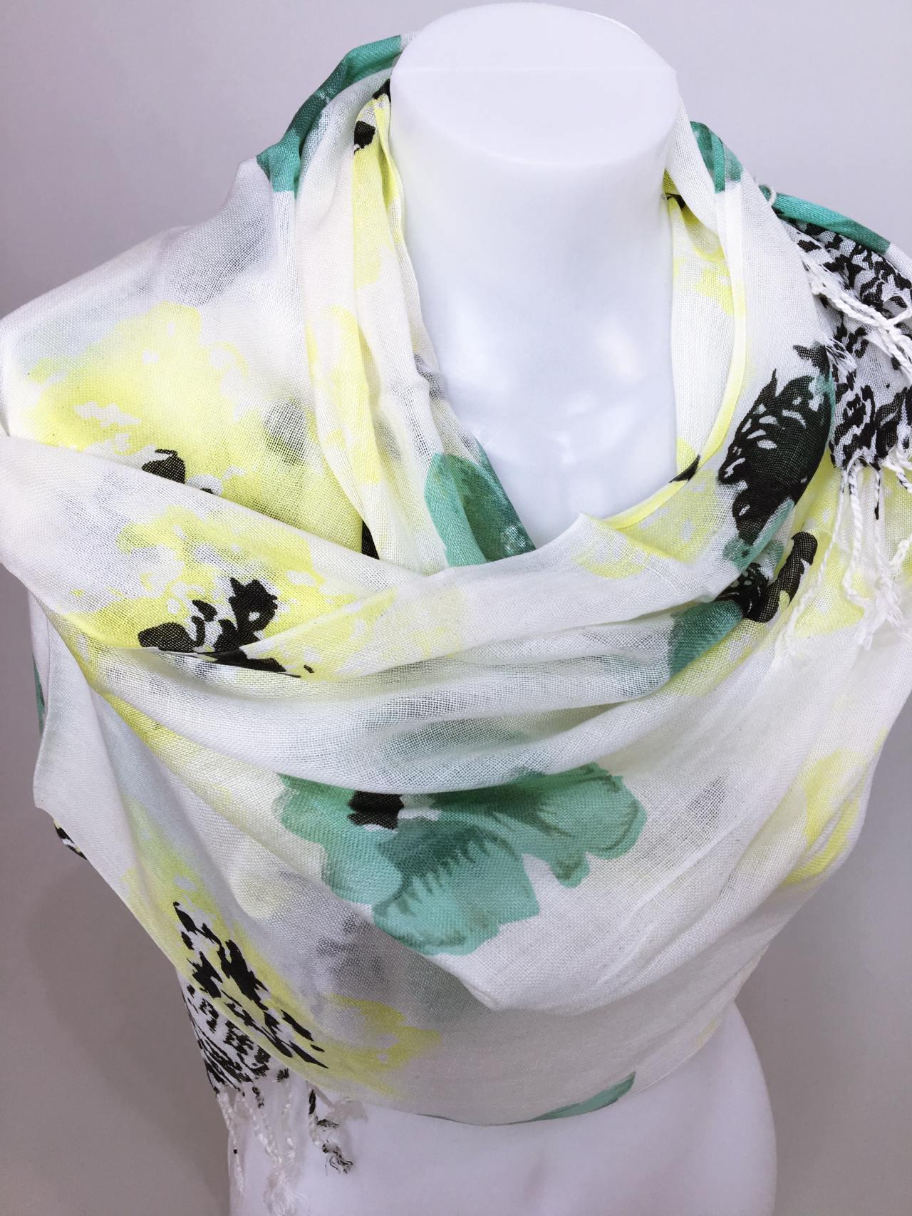 Šátek Flowers zelený 02