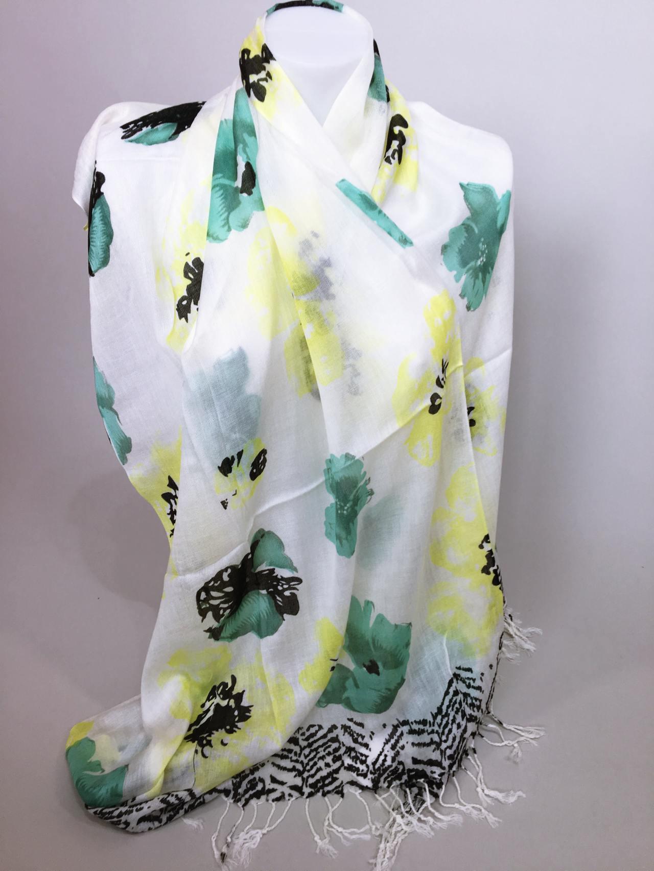 Šátek Flowers zelený 03