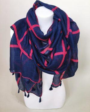 Šátek modro růžový 01