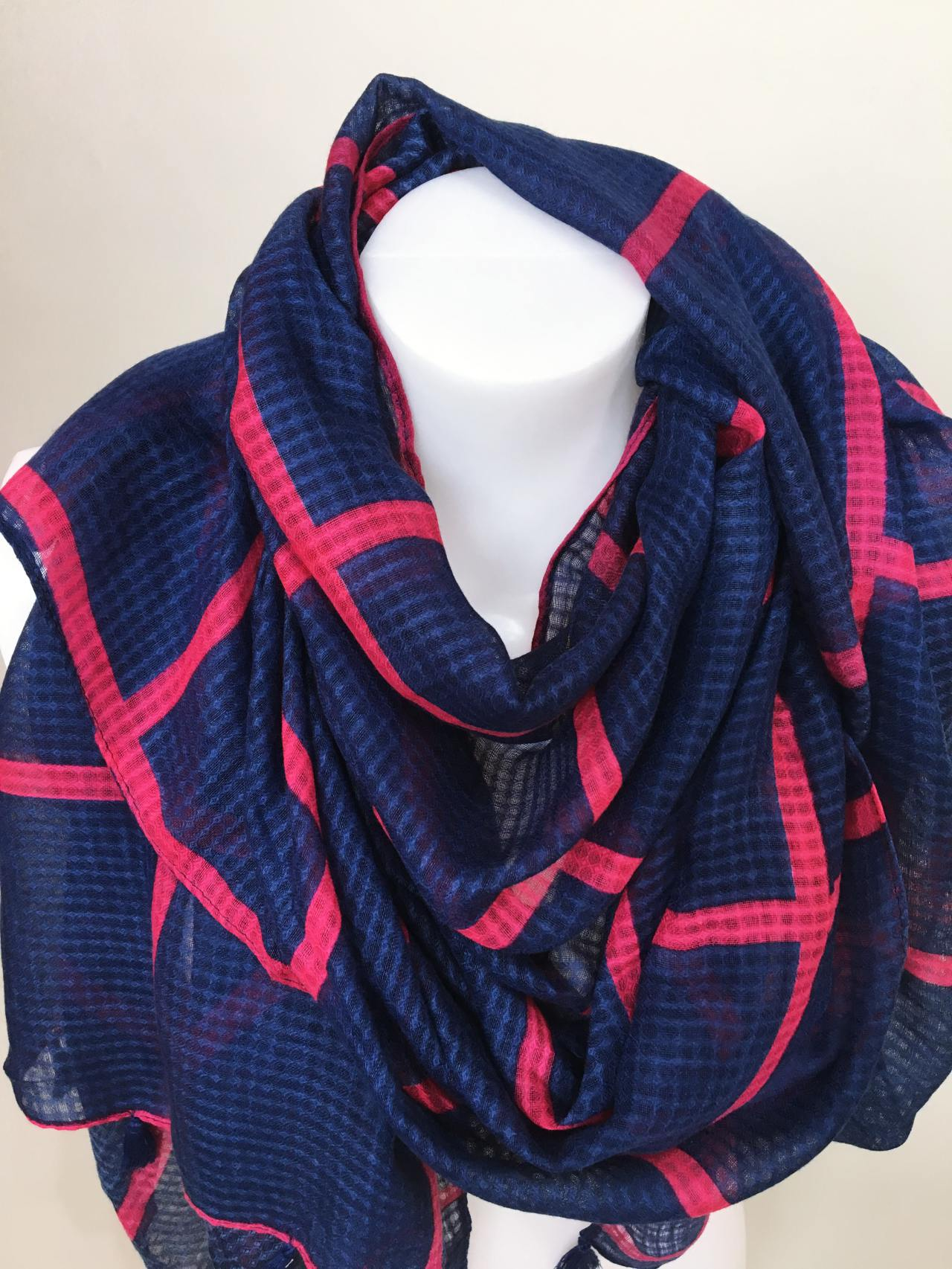 Šátek modro růžový 02