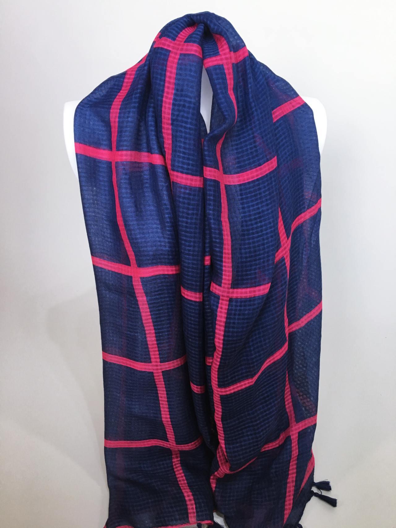 Šátek modro růžový 03