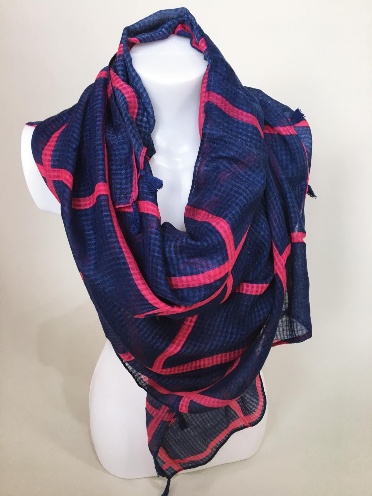 Šátek modro růžový 04