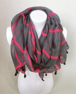 Šátek šedo růžový 01