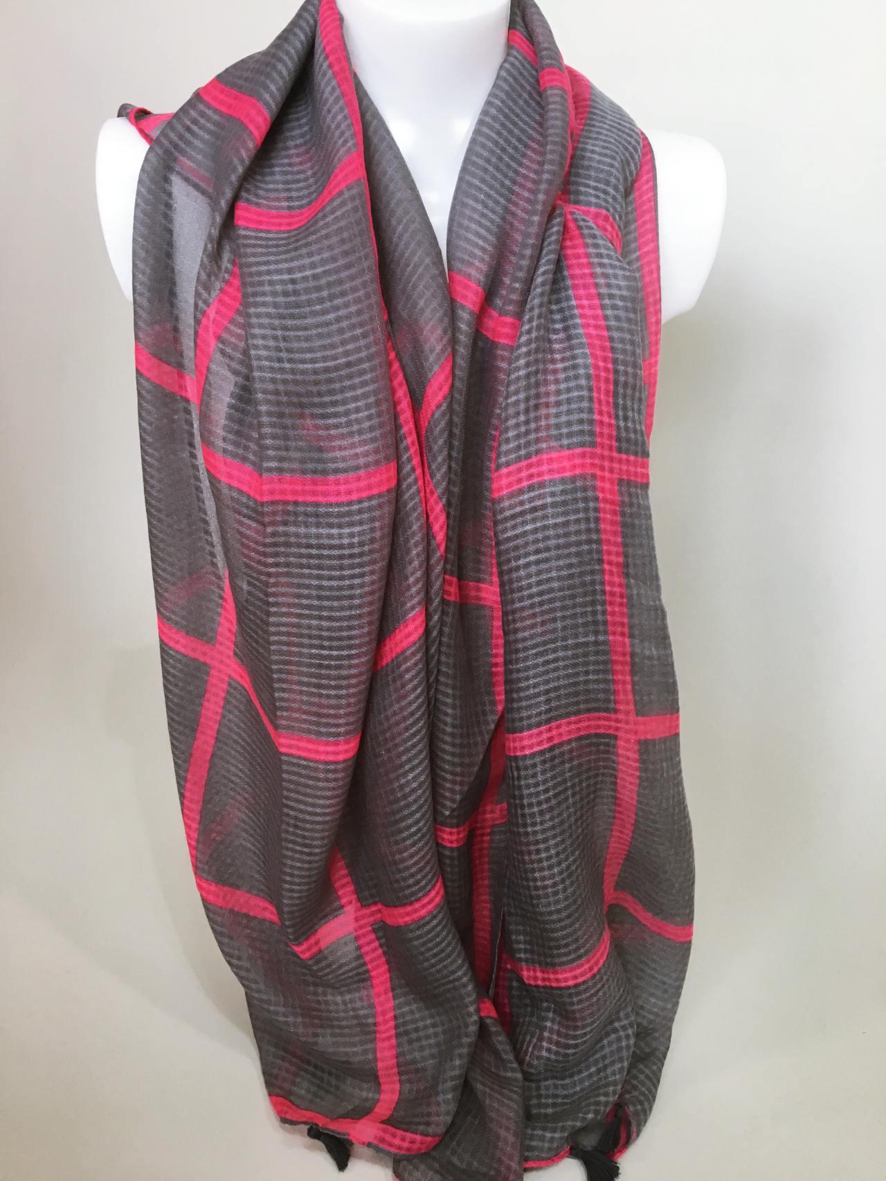 Šátek šedo růžový 03